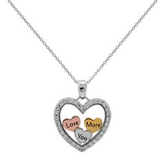 Hallmark Tri-Tone Sterling Silver Cubic Zirconia 'Love You More' Heart Pendant