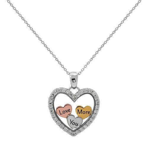 """Hallmark Tri-Tone Sterling Silver Cubic Zirconia """"Love You More"""" Heart Pendant"""