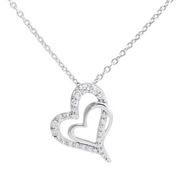 the journey is the reward Charm Heart Pendant Necklace Sterling Silver Cubic Zirconia
