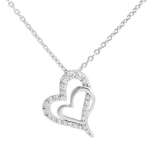c130368d57e56 Hallmark Sterling Silver Cubic Zirconia Double Heart Pendant Necklace