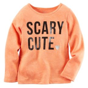 "Baby Girl Carter's ""Scary Cute"" Glitter Graphic Long Sleeve Tee"