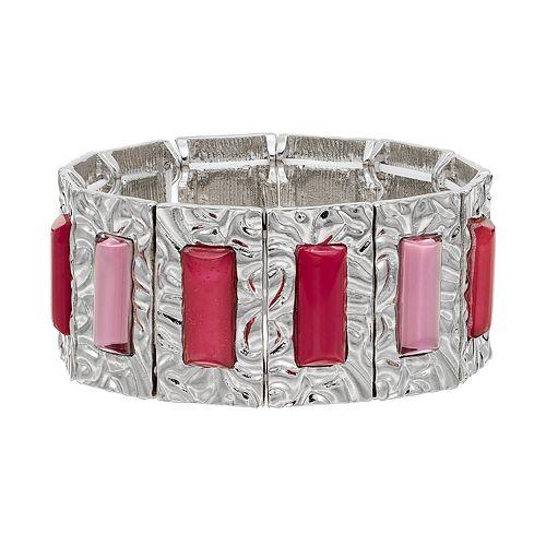 Pink Hammered Rectangle Stretch Bracelet
