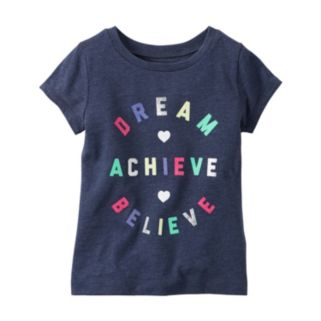 "Baby Girl Carter's ""Dream Believe Achieve"" Glitter Graphic Short Sleeve Tee"