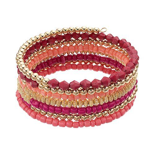 Pink Beaded Coil Bracelet