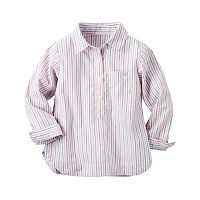 Baby Girl Carter's Pink Striped Woven Shirt