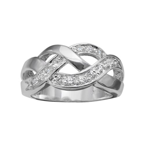 PRIMROSE Cubic Zirconia Sterling Silver Braided Ring