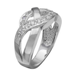 PRIMROSE Cubic Zirconia Sterling Silver Braided Ring