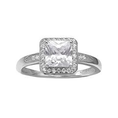 PRIMROSE Cubic Zirconia Sterling Silver Square Halo Ring