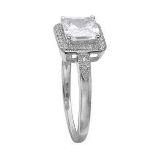 PRIMROSE Cubic Zirconia Sterling Silver Square Halo Ring