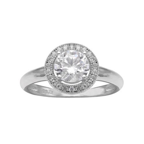 PRIMROSE Cubic Zirconia Sterling Silver Halo Ring