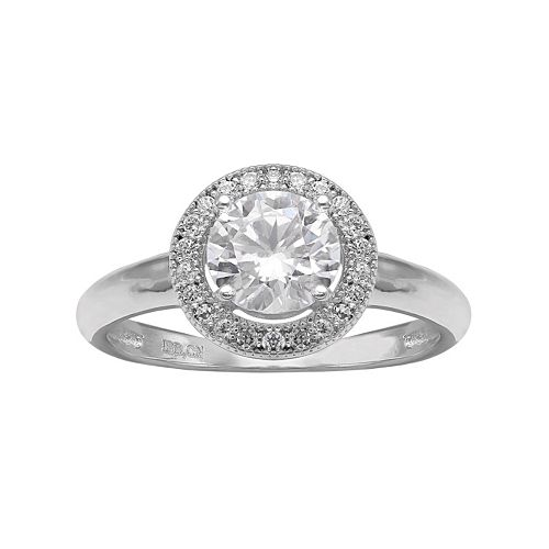 PRIMROSE Cubic Zirconia Sterling Silver Halo Ring