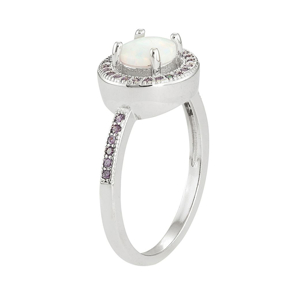 Sterling Silver Lab-Created Opal & Cubic Zirconia Halo Ring