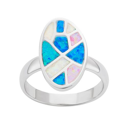 Sterling Silver Lab-Created Opal Oval Ring