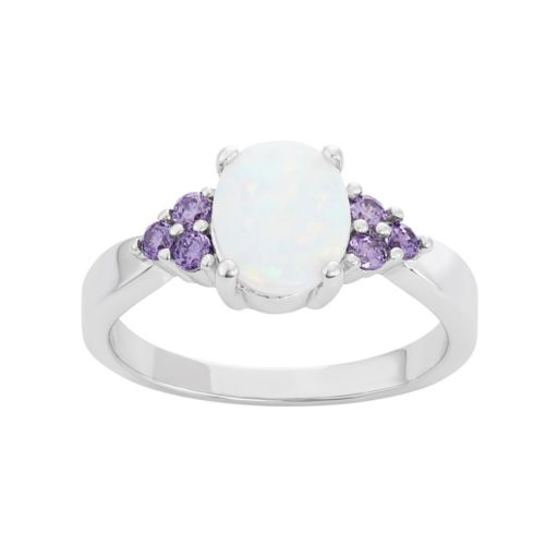 Sterling Silver Lab-Created Opal & Cubic Zirconia Ring