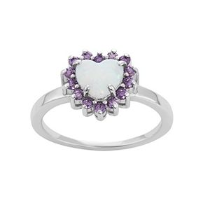 Sterling Silver Lab-Created Opal & Cubic Zirconia Heart Halo Ring