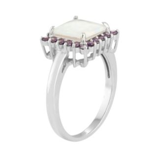 Sterling Silver Lab-Created Opal & Cubic Zirconia Square Halo Pendant Ring