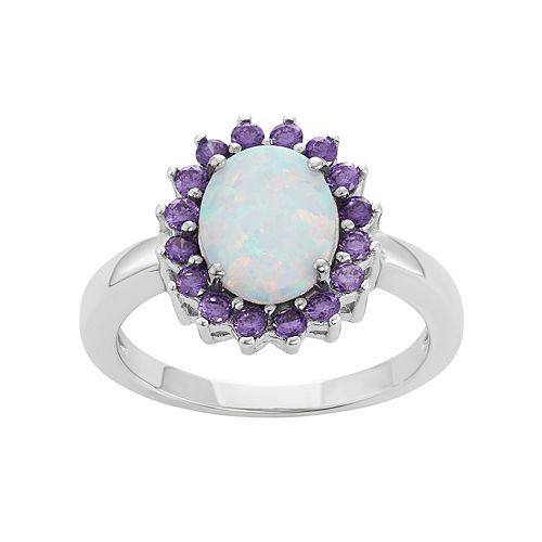 Sterling Silver Lab-Created Opal & Cubic Zirconia Oval Halo Ring