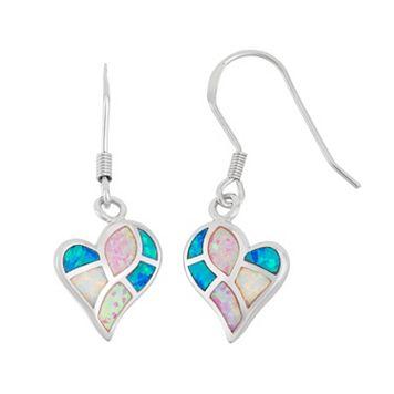 Sterling Silver Lab-Created Opal Heart Drop Earrings