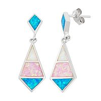 Sterling Silver Lab-Created Opal Marquise Drop Earrings