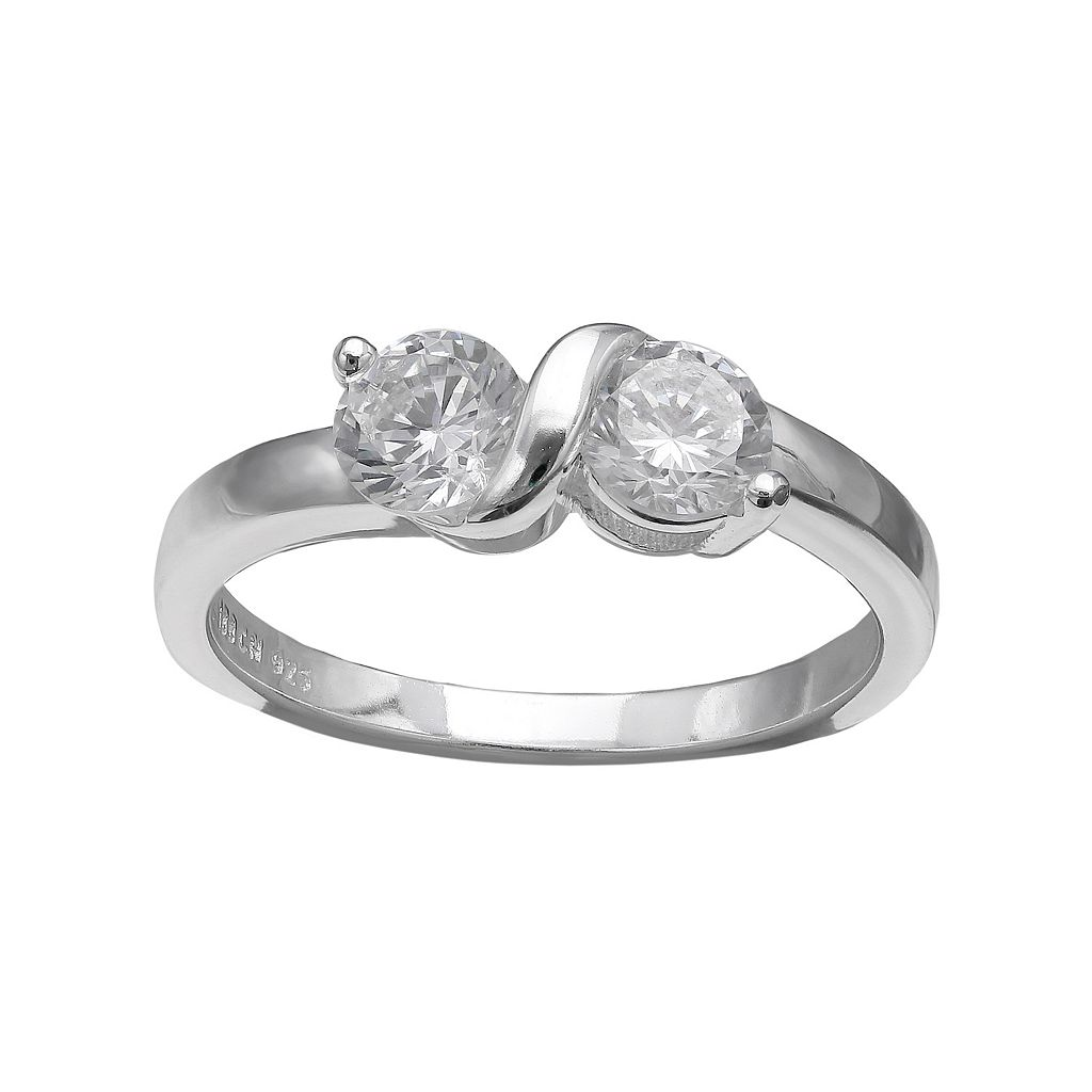 PRIMROSE Sterling Silver Cubic Zirconia 2-Stone Ring