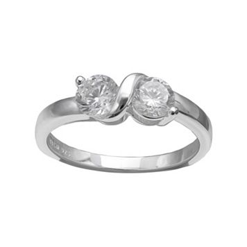 PRIMROSE Sterling Silver Cubic Zirconia 2-Stone Ring
