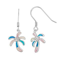 Sterling Silver Lab-Created Opal Palm Tree Drop Earrings