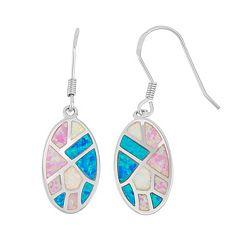 Sterling Silver Lab-Created Opal Oval Drop Earrings