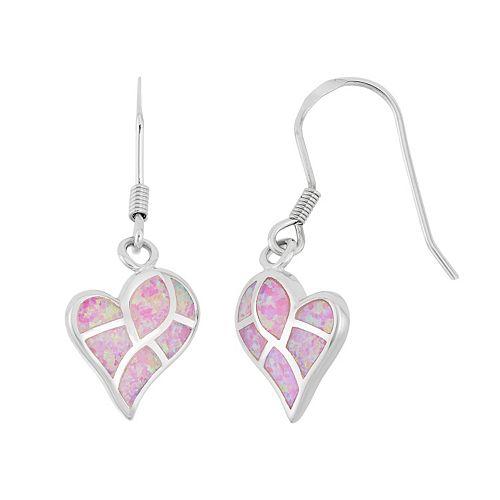 Sterling Silver Lab-Created Pink Opal Heart Drop Earrings