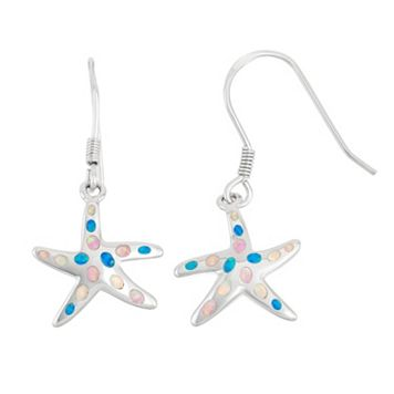 Sterling Silver Lab-Created Opal Starfish Drop Earrings