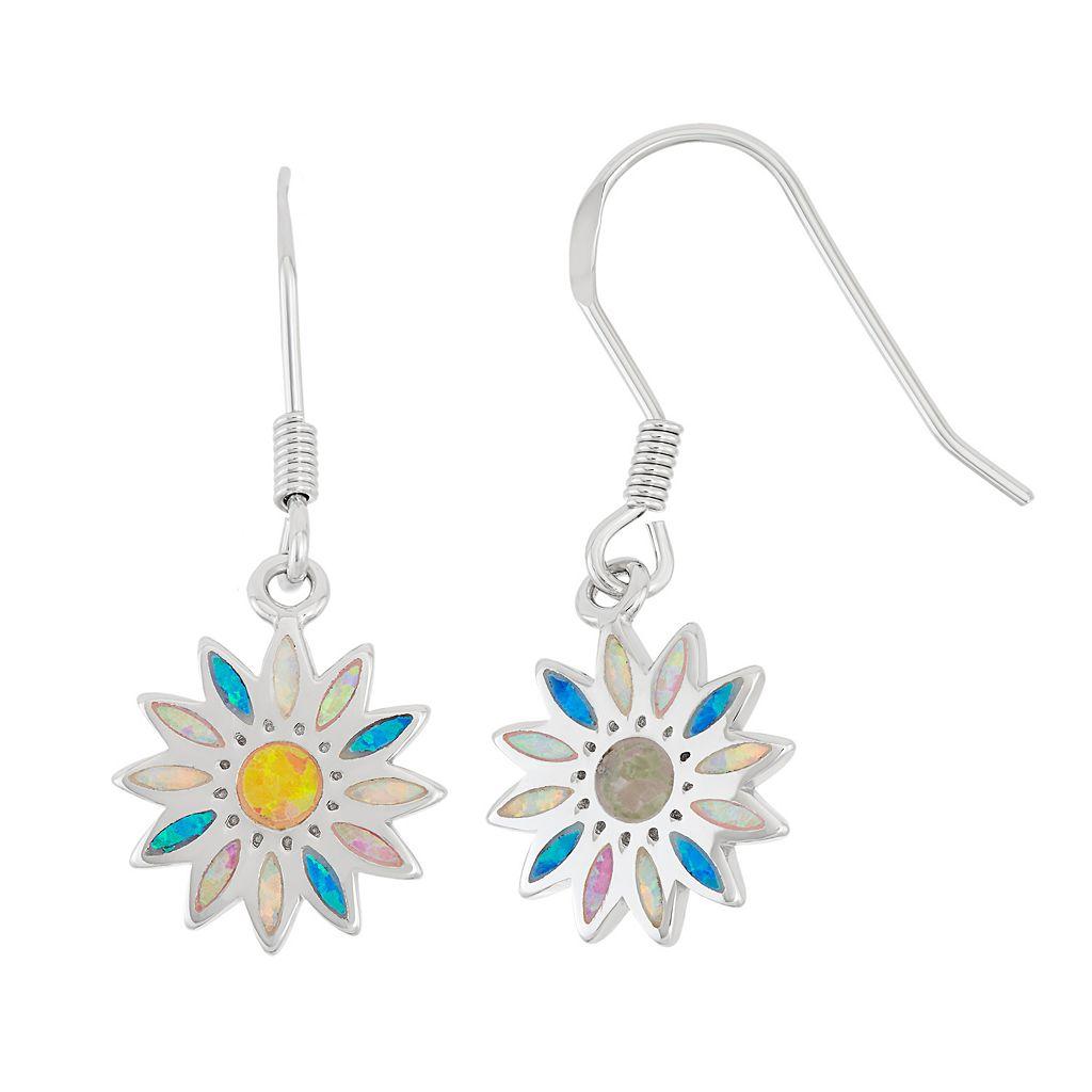 Sterling Silver Lab-Created Opal Daisy Drop Earrings