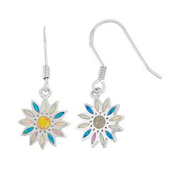 Sterling Silver Lab-Created Opal Daisy Drop Earrings