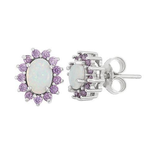 Sterling Silver Lab-Created Opal & Cubic Zirconia Oval Halo Stud Earrings