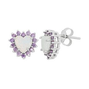Sterling Silver Lab-Created Opal & Cubic Zirconia Heart Halo Stud Earrings