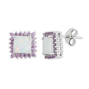 Sterling Silver Lab-Created Opal & Cubic Zirconia Square Halo Stud Earrings