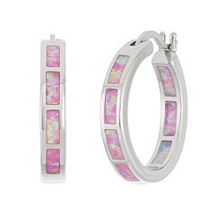 Sterling Silver Lab-Created Pink Opal Inside-Out Hoop Earrings