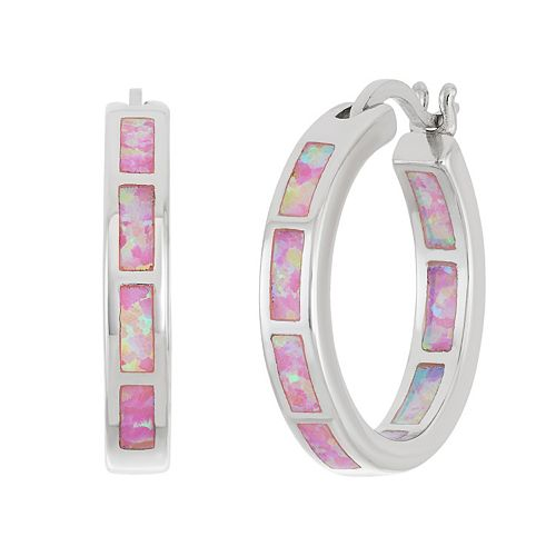 Sterling Silver Lab-Created Pink Opal Inside-Out Hoop Earrings