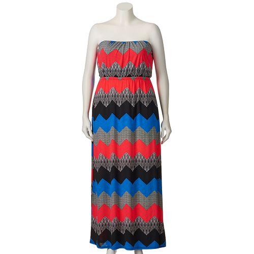Juniors\' Plus Size Trixxi Strapless Maxi Dress