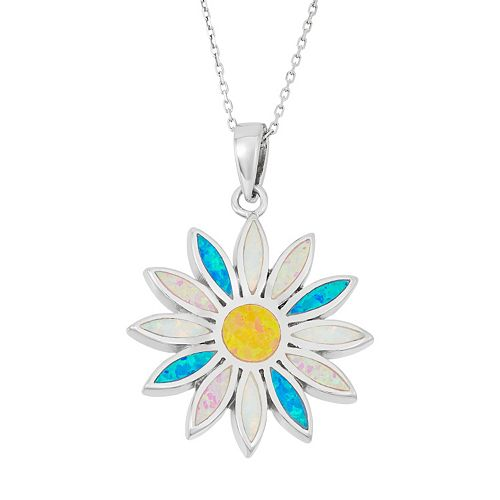 Sterling Silver Lab-Created Opal Daisy Pendant Necklace