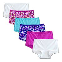 Girls 6-16 Fruit of the Loom 5-pack + 1 Bonus Breathable Boyshorts