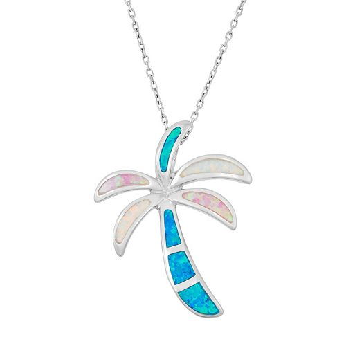Sterling Silver Lab-Created Opal Palm Tree Pendant Necklace
