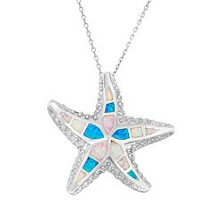 Sterling Silver Lab-Created Opal Starfish Pendant Necklace
