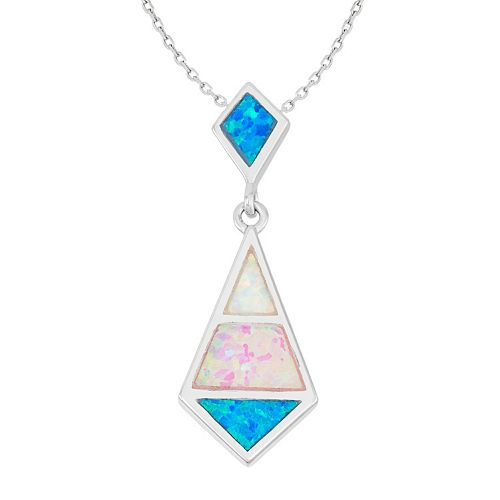 Sterling Silver Lab-Created Opal Marquise Pendant Necklace