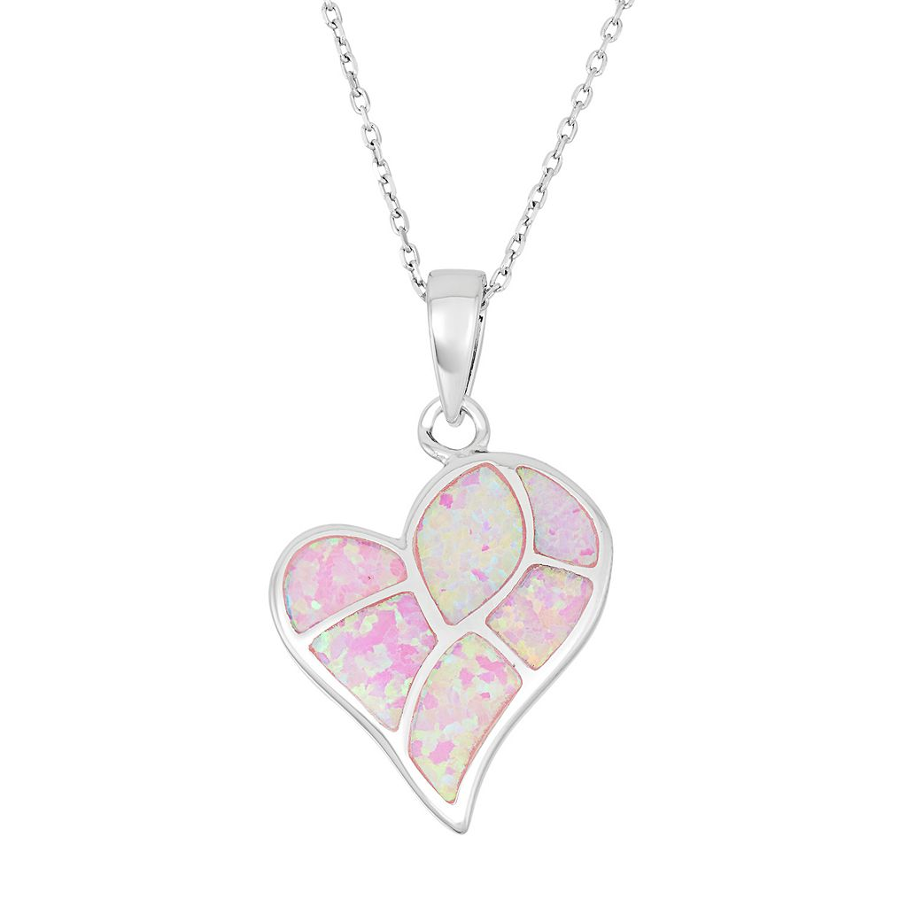 Sterling Silver Lab-Created Pink Opal Heart Pendant Necklace