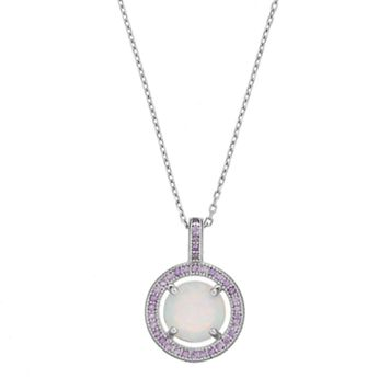 Sterling Silver Lab-Created Opal &Cubic Zirconia Halo Pendant