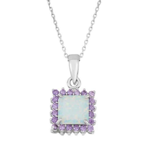 Sterling Silver Lab-Created Opal & Cubic Zirconia Square Halo Pendant