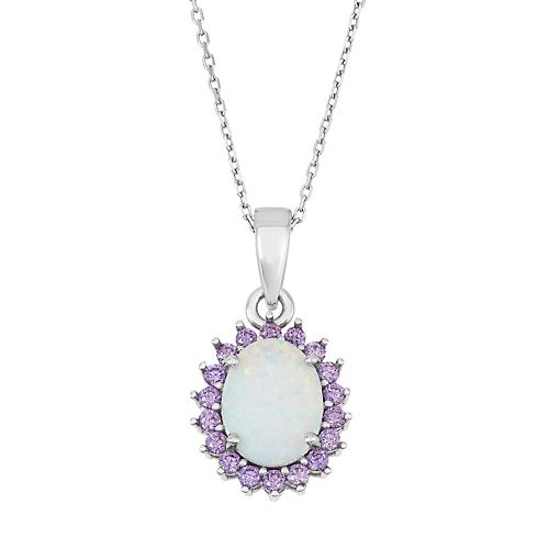 Sterling Silver Lab-Created Opal & Cubic Zirconia Oval Halo Pendant