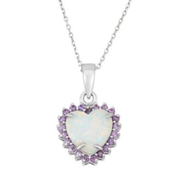 Sterling Silver Lab-Created Opal & Cubic Zirconia Heart Halo Pendant