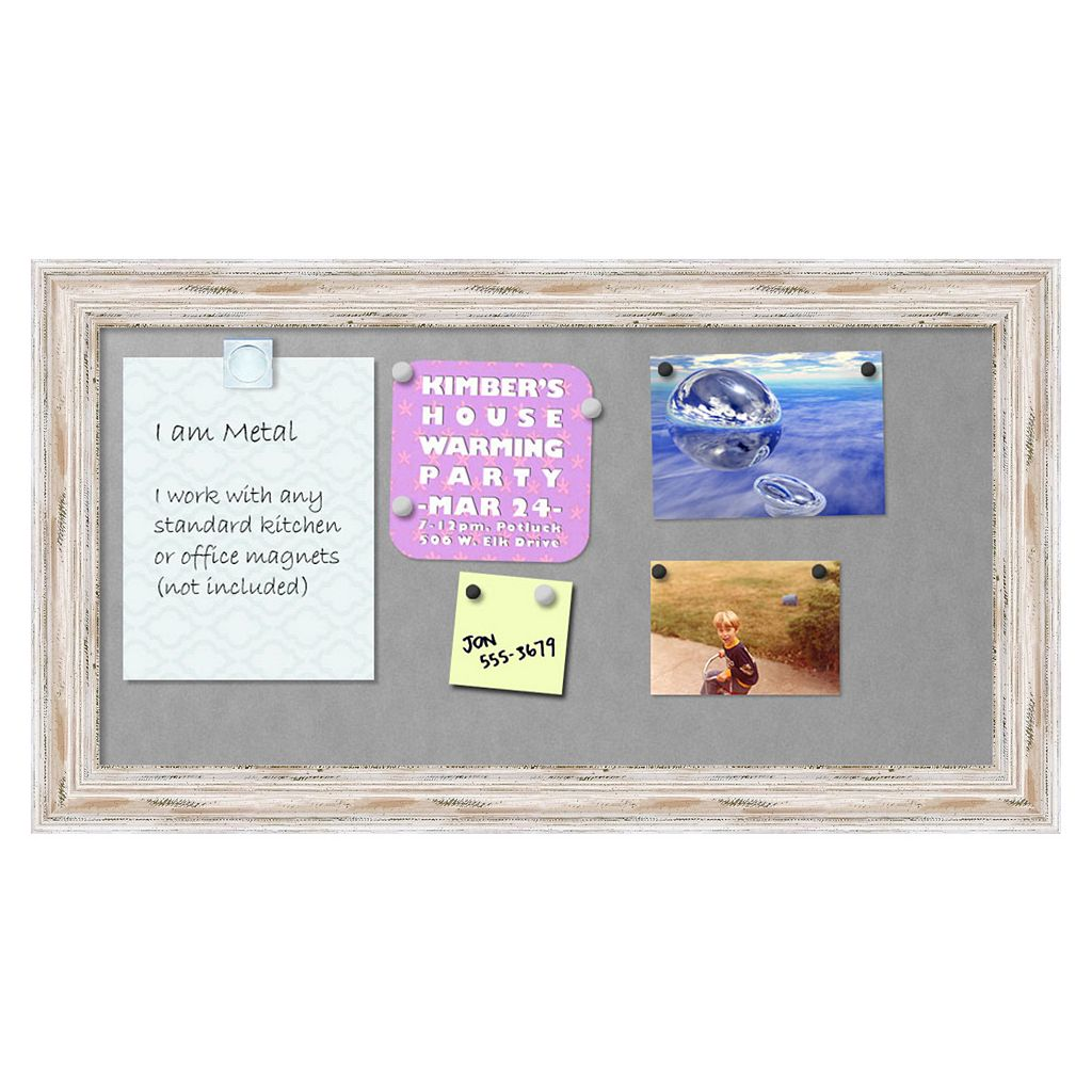 Amanti Art Alexandria Medium Framed Whitewash Distressed Magnetic Bulletin Board
