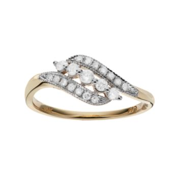 10k Gold 1/4 Carat T.W. Diamond Bypass Ring