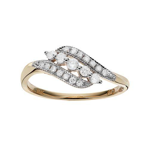 10k Gold 1/4 Carat T.W. Diamond Bypass Ring